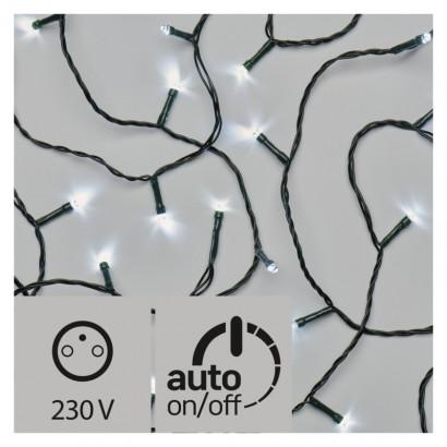 LED vánoční řetěz, 12m, studená bílá, časovač
