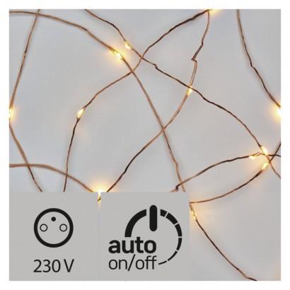 LED vánoční nano řetěz měděný, 10m, venkovní, teplá b., čas.