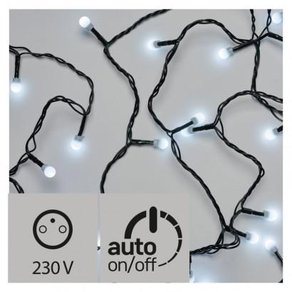 LED vánoční cherry řetěz – kuličky, 30m, studená bílá, čas.
