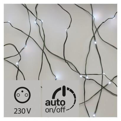 LED vánoční nano řetěz zelený, 15m, venkovní, stud. b., čas.