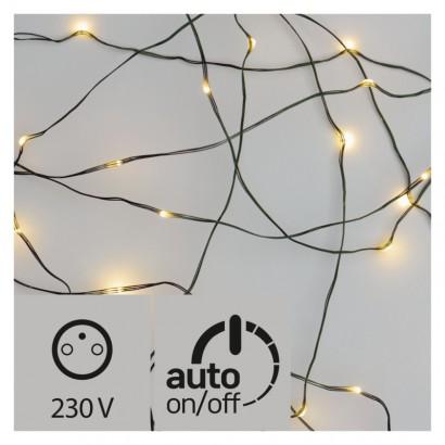 LED vánoční nano řetěz zelený, 15m, venkovní, teplá b., čas.