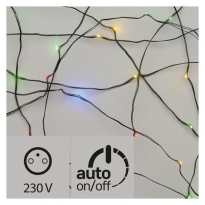 LED vánoční nano řetěz zelený, 4m, venkovní, multicolor,čas.