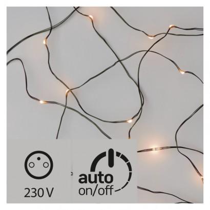 LED vánoční nano řetěz zelený, 15m, venkovní, jantarová,čas.