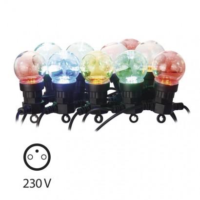 LED světelný řetěz – 10× párty žárovky, 5m, multicolor