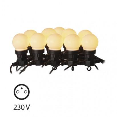 LED světelný řetěz – 10× párty žárovky mléčné, 5m, teplá b.