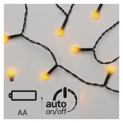 LED vánoční řetěz – kuličky, 2× AA, vnitřní, žlutá, časovač