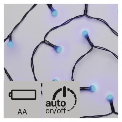 LED vánoční řetěz – kuličky, 2× AA, vnitřní, modrá, časovač
