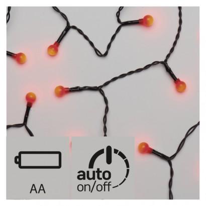 LED vánoční řetěz – kuličky, 2× AA, vnitřní, červ., časovač