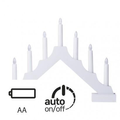 LED svícen bílý, 35×29cm, 2× AA, vnitřní, teplá bílá, časov.