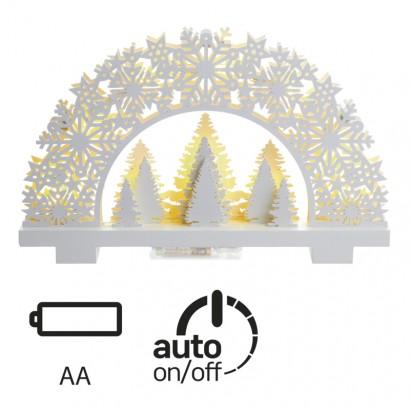 LED vánoční stojánek stromky, 32×20cm, 2× AA, teplá b., čas.