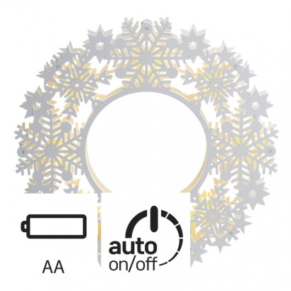 LED vánoční věnec, 30×30cm, 2× AA, vnitřní, teplá bílá, čas.