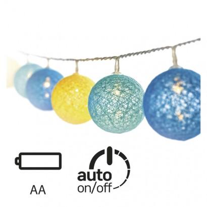 LED girlanda – koule bavlněné, léto, 2×AA, teplá bílá, čas.
