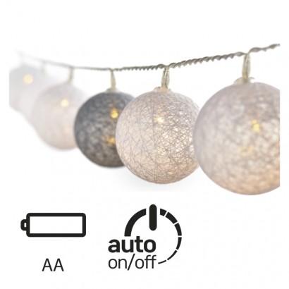 LED girlanda – koule bavlněné, zima, 2×AA, teplá bílá, čas.