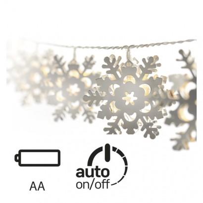 LED vánoční girlanda – vločky kovové, 3× AA, teplá b., čas.