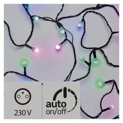 LED světelný cherry řetěz – kuličky, 4m, zel./m./růž., čas.