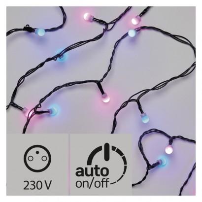 LED světelný cherry řetěz – kuličky, 4m, modrá/růžová, čas.