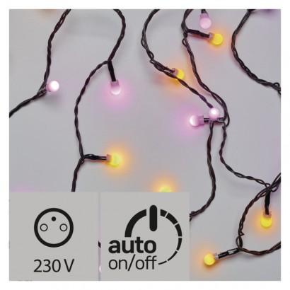 LED světelný cherry řetěz – kuličky, 4m, žlutá/růžová, čas.