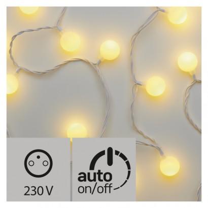 LED světelný cherry řetěz – kuličky 2,5cm, 4m, teplá b.,čas.