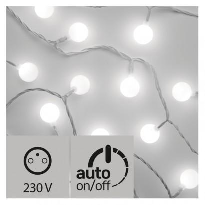 LED světelný cherry řetěz – kuličky 2,5cm, 4m, stud. b.,čas.