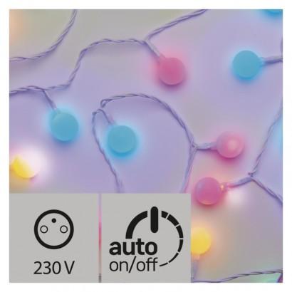 LED světelný cherry řetěz – kuličky 2,5cm, 4m, multic., čas.