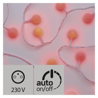LED světelný cherry řetěz – kuličky 2,5cm, 4m, červená, čas.