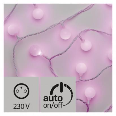 LED světelný cherry řetěz – kuličky 2,5cm, 4m, růžová, čas.