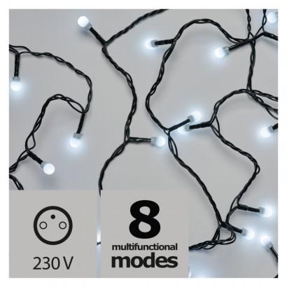 LED vánoční cherry řetěz – kuličky, 8m, venkovní, st.b., pr.
