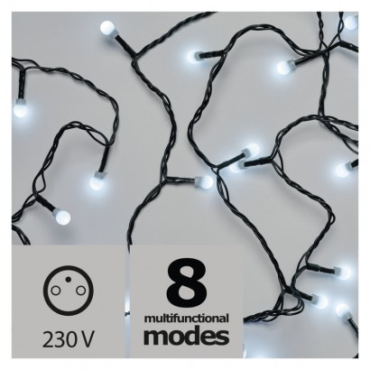 LED vánoční cherry řetěz – kuličky, 20m, venkovní, st.b.,pr.