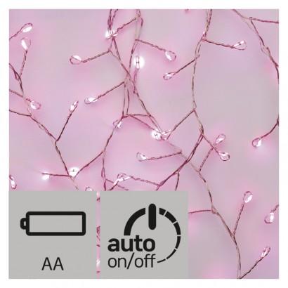LED vánoční nano řetěz – ježek, 2,4m, růžová, časovač