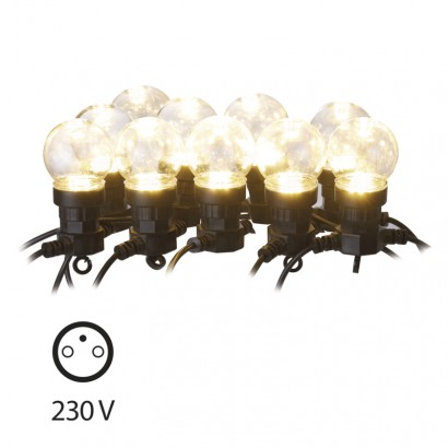 LED světelný řetěz – 10× párty žárovky čiré, 5m, teplá bílá