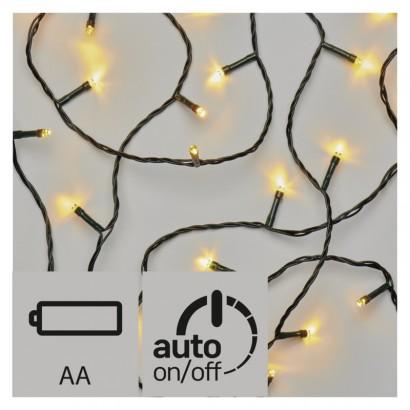 LED vánoční řetěz, 3× AA, venkovní, 8,4m, teplá b., časovač