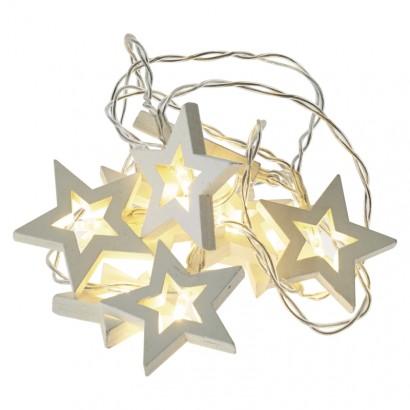 LED vánoční girlanda – hvězdy dřevěné, 2× AA, teplá b., čas.