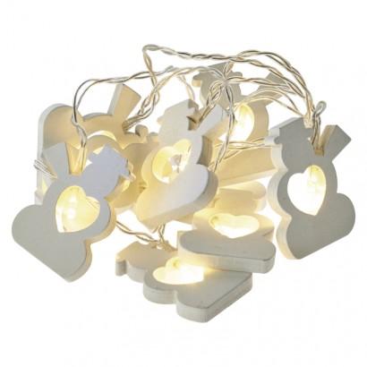 LED vánoční girlanda – sněhuláci, 2× AA, teplá bílá, časovač