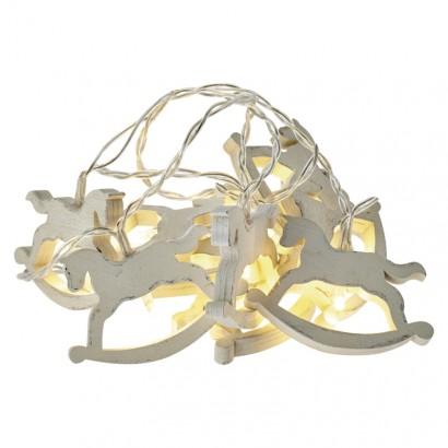 LED vánoční girlanda – koně, 2× AA, teplá bílá, časovač