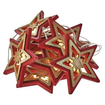 LED vánoční hvězda přír./červ., 2× AA, teplá bílá, časovač