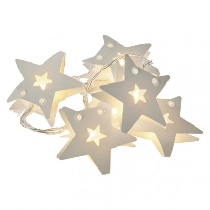 LED vánoční girlanda – hvězdy pap., 2× AA, teplá bílá, čas.