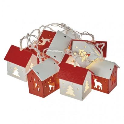 LED vánoční girlanda – domky, 2× AA, teplá bílá, časovač
