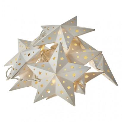 LED vánoční girlanda – hvězda, 2× AA, teplá bílá, časovač
