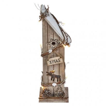 LED vánoční domek dřevěný, 30cm, 2× AA, teplá bílá, časovač