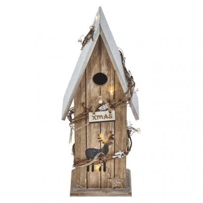 LED vánoční domek dřevěný, 33cm, 2× AA, teplá bílá, časovač