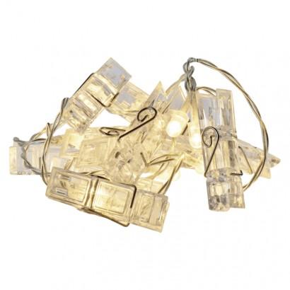 LED girlanda – 5× kolíčky, 2× AA, teplá bílá, časovač