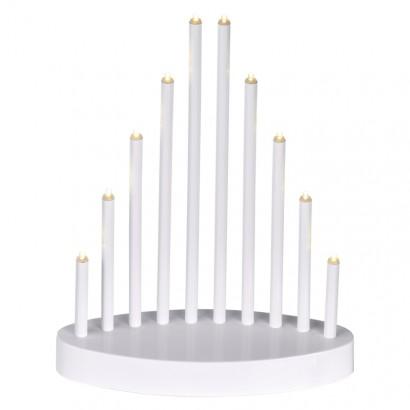 LED svícen bílý, 3× AA, teplá bílá, časovač