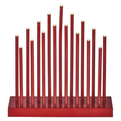 LED svícen červený, 3× AA, teplá bílá, časovač