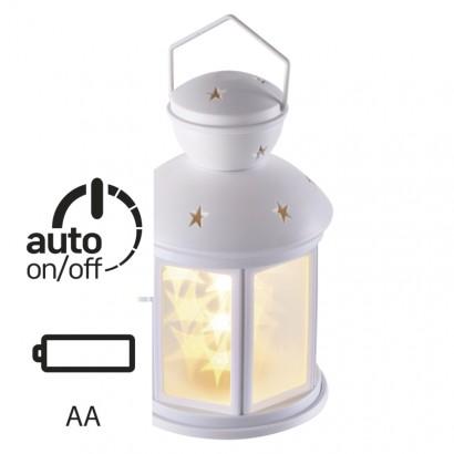 LED dekorace – lucerna s hvězdami, 3× AA, teplá b., čas.