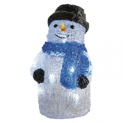 LED vánoční sněhulák, 28cm, 3× AA, vnitřní, studená b., čas.