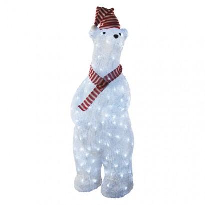 LED vánoční medvěd, 80cm, venkovní, studená bílá, časovač