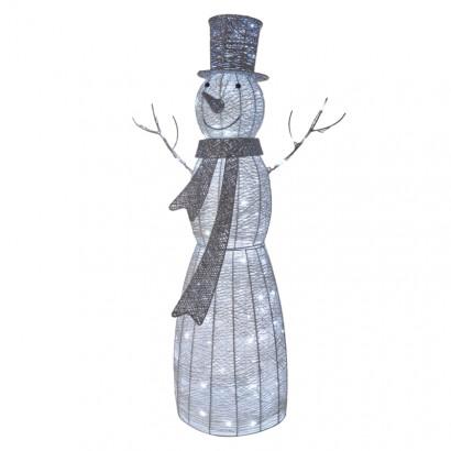 LED vánoční sněhulák ratanový, 124cm, vnitřní, studená b.,č.