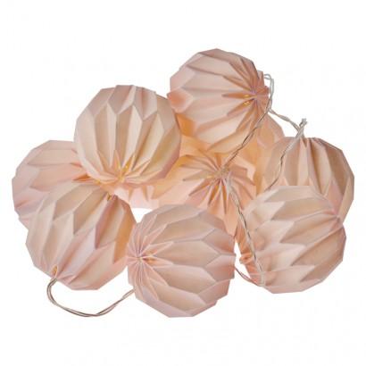LED girlanda – 10× růžové pap. koule, 2× AA, teplá bílá, č.