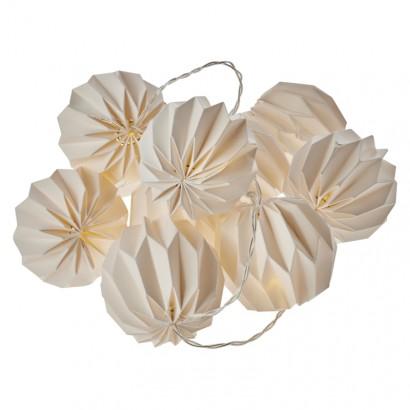 LED girlanda – 10× žluté pap. koule, 2× AA, teplá bílá, čas.