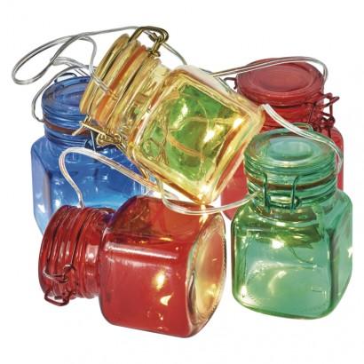 LED girlanda – 6× skleničky barevné, 3× AA, časovač